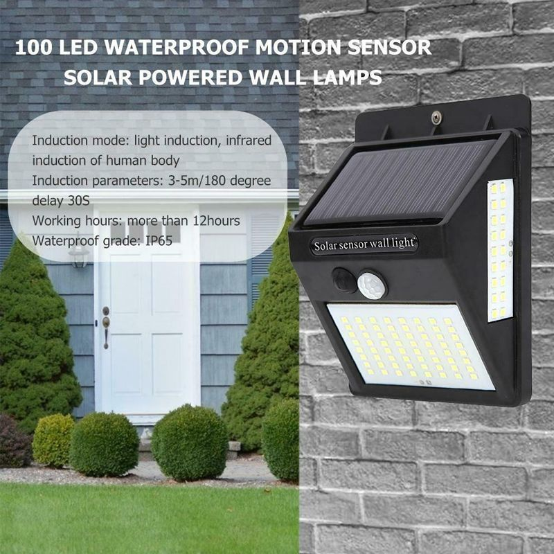 100 LED Solar Wall Light